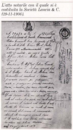 Actul notarial de înființare a firmei Lancia