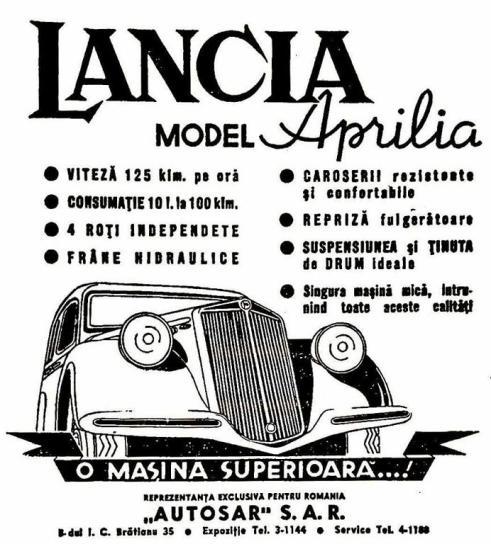 Afiș publicitar cu Lancia Aprilia