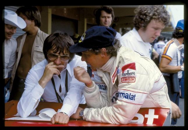 Niki Lauda cu Bernie Ecclestone la Brabham Alfa Romeo in 1979