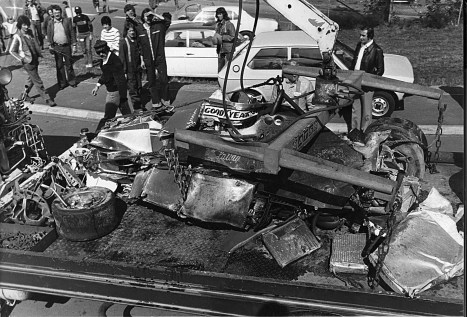 Monopostul Ferrari 312T dupa accidentul de la Nurburgring 1976