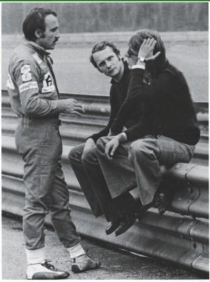 Niki Lauda cu Clay Regazzoni si Luca di Montezemolo 1974