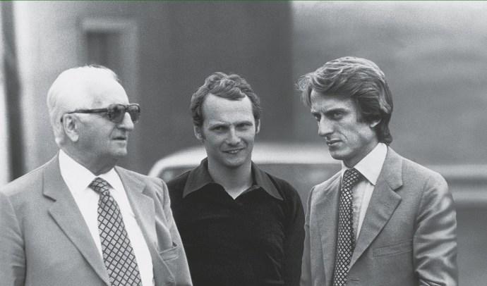 Niki Lauda cu Enzo Ferrari si Luca di Montezemolo 1974