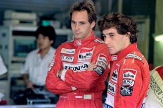 Ayrton Senna cu coechiperul sau Gerhard Berger la McLaren Honda