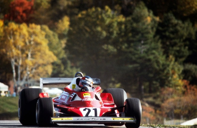 Gilles Villeneuve în cursa de debut pentru Scuderia Ferrari