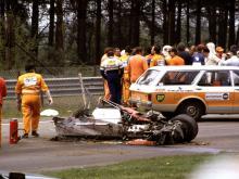 Monopostul Ferrari C126 în urma accidentului