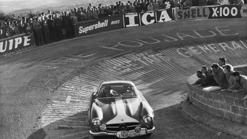 Cu Mercedes 300SL în cursa Tour de France 1957