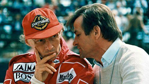 Hans Mezger & Niki Lauda în 1984