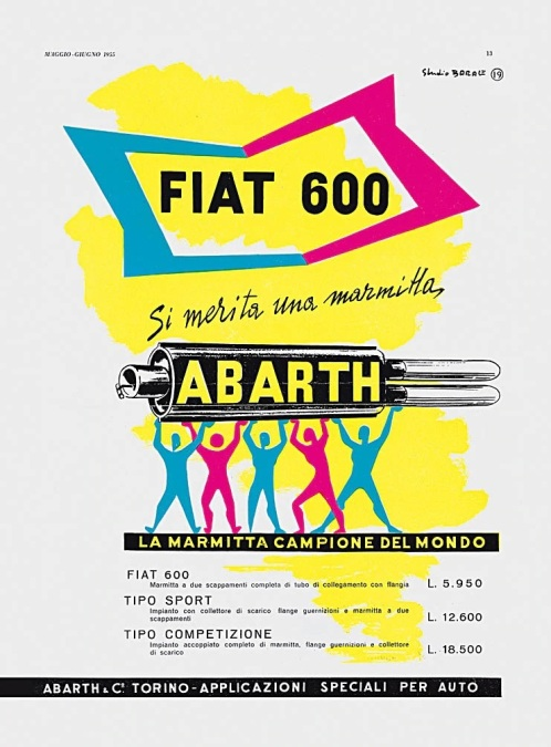 Afis publicitar cu evacuari Abarth din anii 50